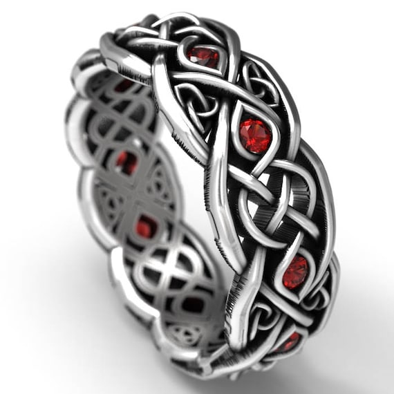 Infinity Wedding Band With Rubies, 925 Sterling Silver Celtic Ring, Unique Wedding Ring, Celtic Wedding Band, Handcrafted Size CR1052