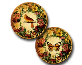 Vintage Wreath - 1 inch, 18mm and 16mm circles - (3) Digital downloads