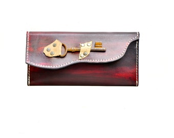 Ladies Leather Wallet - Boho Chic Extra Large Distressed Leather Checkbook Wallet with Skeleton Key Steampunk - IN STOCK