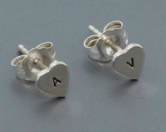 Sterling Silver Tiny Stud Earrings - Heart Stud Earrings Personalized Jewelry - Everyday Earrings Gift for Her