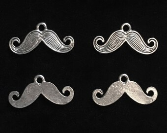 4 Silver Pewter Mustache Charms, Moustache Charms  (qb109)