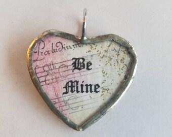 Be Mine Valentine Charm / Silver Soldered Glass Heart Charm / Handmade Charm / Angel / Valentine's Day Gift