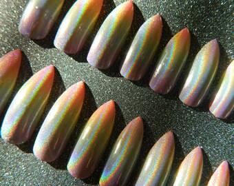 Extra Long Holographic Rainbow Stiletto False Nails.
