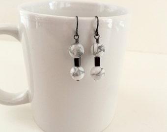 White howlite minimal drop earrings, gemstone dangle earrings, white bead drop earrings, simple drop bead earrings, white and gray jewelry