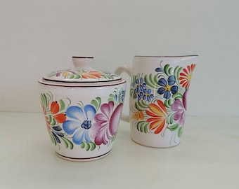 Hand Painted Czech Pottery Cream and Sugar Set