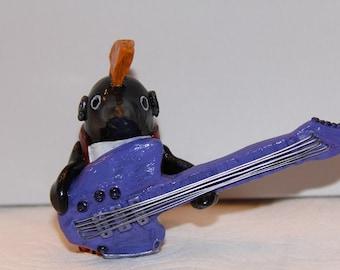 Punk Rock Guitar Penguin Figure