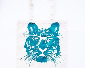 Science - Tiger Tote Bag - Cotton Tote Bag with Eco Friendly Teal Ink  -  Bags and Totes - Animal Print tote bag- Housewares