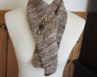 Alpaca Handspun Handknit Scarf made from All Natural Medium Fawn, White & Medium Brown Alpaca - Handmade Scarf Pin Included