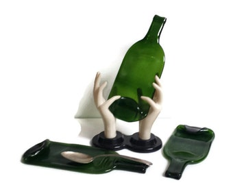 Ready to ship, housewarming gift idea, melted wine bottle spoon rest, flat cheese tray, SECONDS, cobalt blue, green or amber