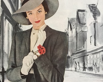 1947 ad from Yardley for Bond Street perfume, beautiful look.