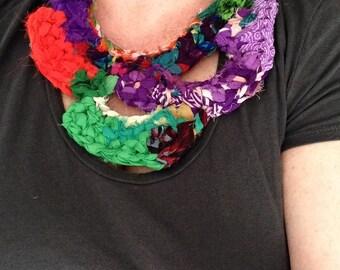 OOAK Ragged Jagged Vibrant Textile Collar Necklace, Handmade Contemporary Bib Necklace, Fiber Accessories