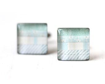 Pastel Blue Men's Cufflinks - Stripes Square Unisex Cuff Link for Men Groom Groomsmen Spring Wedding Horizontal Line Baby Blue