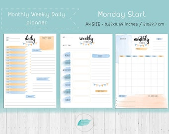 Printable Weekly Pages, Printable Planner, Daily Planner,Bullet Journal,TN Inserts,Instant Download, A5 Planner,PDF, Monthly Calendar
