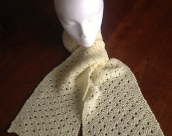 Hand Knit Pale Yellow Swiss Cheese Eyelet Scarf