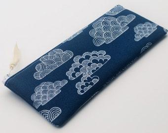 Navy Pencil Case, Canvas Zipper Pouch, Fabric Case, Navy Clouds