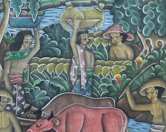 Vintage artist signed original Indonesian Bali painting