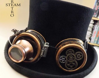 steampunk hat - new VINTAGE Wool Formal  Top Hat with gear goggles - steampunk top hat - steampunk top hat with black goggles