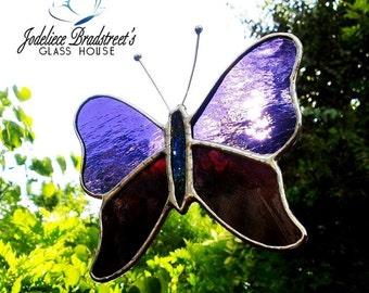 Purple Butterfly Suncatcher Purple Stained Glass Butterfly Sun Catcher Home Decor Window Decoration Stained Glass Art Butterfly Art