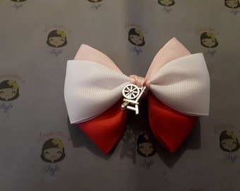 Sleeping Beauty Hair Bow with charm on clips