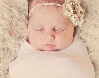 Bridal Ivory Cream Silk Flower Headband- Hannah Style