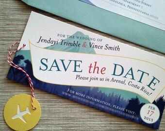 Hochzeit sparen Datum Flugzeug Nachricht Banner tropischen Berge Vulkan - DESIGN-Gebühr