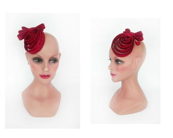 Red straw fascinator wedding fascinator Hat woman ceremony, cocktail, tea party hat hair comb