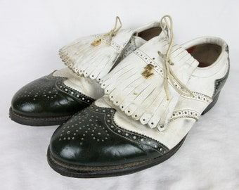 Vintage 1960s Mens Golf Shoes / Black and White Spectator Leather / Kilties Kiltie Tassles / Steel Cleats / Sports Walk, SportsWalk Sz 10