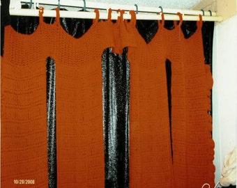 Crocheted shower curtain