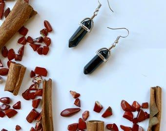 Obsidian Point Earrings