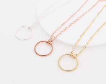 Circle Necklace, Karma Necklace, Eternity Circle
