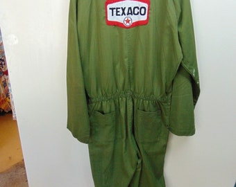 bs13 1960-70's Vintage Coveralls Texaco Poly/cotton Waist Size 41 inches (large)