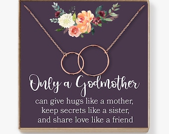Godmother Necklace: Godmother Gift, Godmother, Godmother Proposal, Fairy Godmother, Be My Godmother, 2 Interlocking Circles