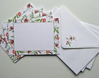 Note Cards and Envelopes Set of Four, Rose Hips Design