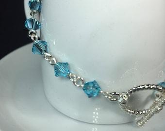 Swarovski Crystal Light Turquoise Chain Bracelet