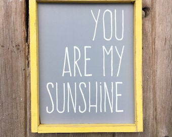 You are my sunshine sign | framed sign | wooden sign | nursery decor | distressed | you make me happy when skies are gray | handmade sign |