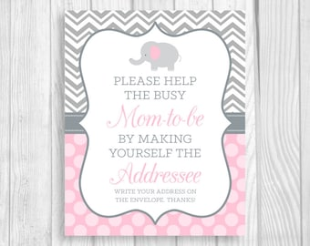 SALE Help Busy Mom-to-Be 8x10 Printable Write Your Address Elephant Baby Shower Sign - Gray Chevron Light Pink Polka Dots Instant Download
