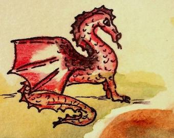Carte Dragon rouge blanc à l'intérieur de l'année du dragon