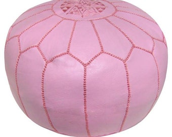 POUF MOROCCAN PINK ottoman genuine leather footsttol stuning