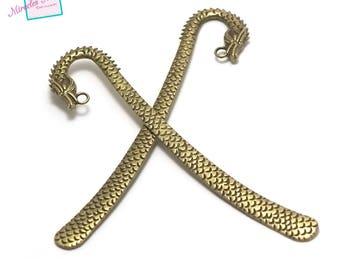 "2 large bookmark ""dragon 120 x 25 x 2 mm"", bronze"