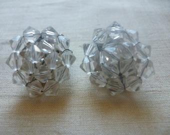 Jack Frost Snowflake Clear Bead Clip Earrings