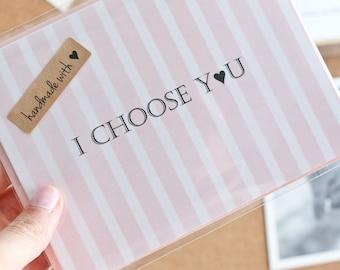 Romantic Handmade Anniversary Card-First Anniversary Card-Valentines Day Card-Husband Card-Wife Card-Groom Wedding Card-I choose you