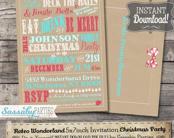Christmas 'Retro Wonderland' Invitation - INSTANT DOWNLOAD - Editable & Printable, Eat Drink be Merry, Party Invite by Sassaby Parties
