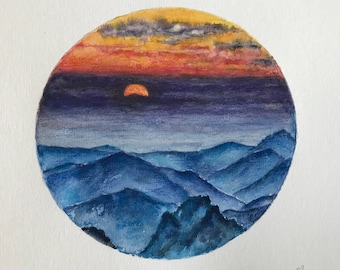 Round watercolor landscape,sunset landscape,original watercolor painting
