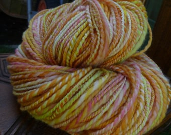 Handspun Yarn, Handspun art yarn, Hand Painted Yarn, Thick & Thin Yarn, 2 ply: MARIGOLD