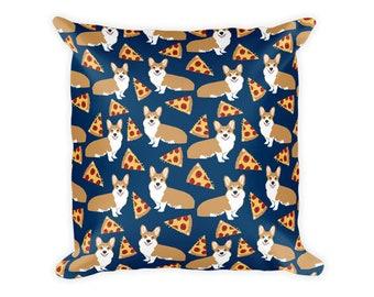 """Corgi Pizza throw pillow - 18""""x18"""" pillow corgi pattern"""