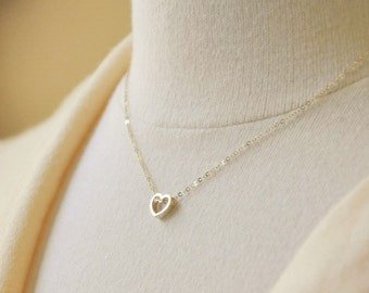 Gold Tiny Heart Outline Necklace - Minimal Necklace, Simple Necklace, Layering Necklace, Tiny Charm Jewelry