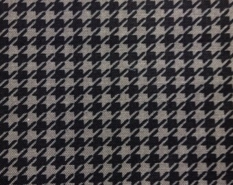 One Half Yard  of Fabric - Black and Gray Houndstooth, Houndstooth Pattern
