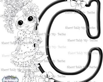 INSTANT DOWNLOAD Digital Digi Stamps Big Eye Big Head Dolls Digi  My Besties Alphabet Letter C By Sherri Baldy