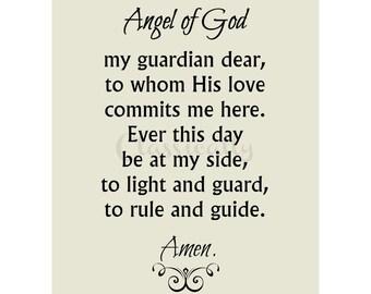 Angel of God Prayer, Guardian Angel Prayer Print, Christian Art Print, Catholic Prayer, Christian Wall Art, Word Art, Angel Print