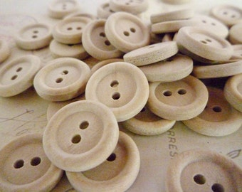 Round Wooden Buttons, Half Inch, Pack of 10